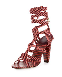 Trix 100mm Woven Multi-Wrap Sandal, Dark Shiraz/Coral
