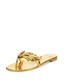 Flame Metallic Flat Thong Sandal, Oro (Gold)