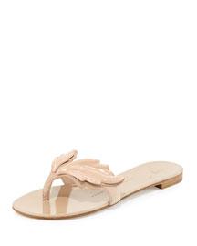 Wings Suede Flat Thong Sandal, Nude