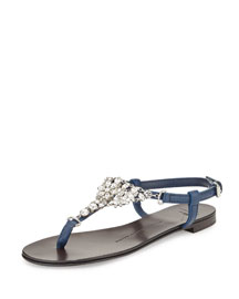 Flat Jeweled Flat Thong Sandal, Navy