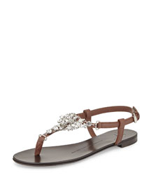 Flat Jeweled Flat Thong Sandal, Dark Brown