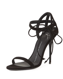 Suede Lattice-Heel 105mm Sandal, Black