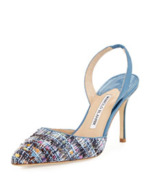 Carolyne 90mm Tweed Halter Pump, Blue