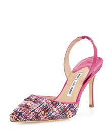 Carolyne 90mm Tweed Halter Pump, Red/Pink