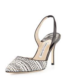 Carolyne 90mm Tweed Halter Pump, Black/White