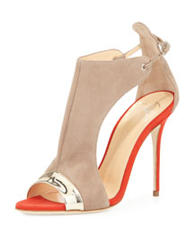 Cutout-Side Glove Sandal, Red