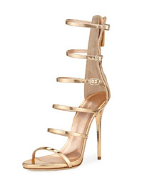 Multi-Strap Metallic Leather Cage Sandal, Gold