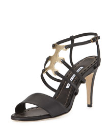 Bagazia Ornament Leather Sandal, Black