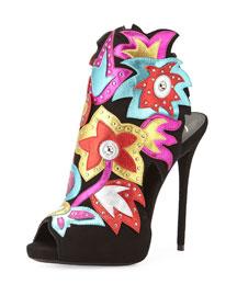 Multicolor Floral Suede Ankle Bootie, Black