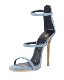 Denim Triple-Strap 110mm Sandal
