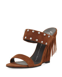 Studded Two-Band Wedge Slide Sandal