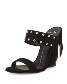 Studded Fringe Two-Band Wedge Sandal, Black
