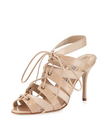 Laona Patent Leather Lace-Up Sandal, Beige
