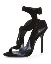 Mistico Wavy Suede/PVC Sandal, Black