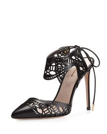 Leda Laser-Cut Lace-Up Pump, Black