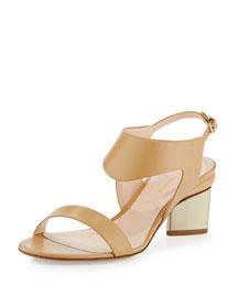 Leda Leather Block-Heel Sandal, Tan