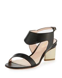 Leda Leather Block-Heel Sandal, Black