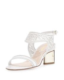 Leda Laser-Cut Leather Sandal, White