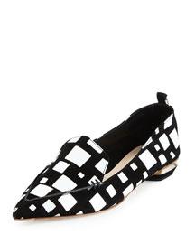 Beya Cubism Leather Loafer, Black/White