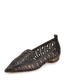 Beya Laser-Cut Leather Loafer, Black