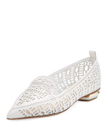 Beya Laser-Cut Leather Loafer, White