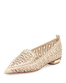 Beya Laser-Cut Leather Loafer, Light Natural