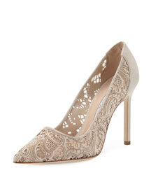 Arbob Laser-Cut Suede 105mm Pump, Beige