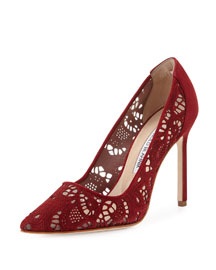Arbob Laser-Cut Suede 105mm Pump, Red