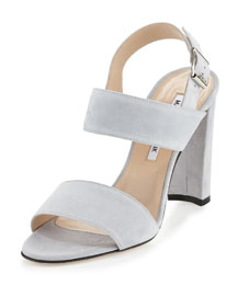 Kahn Suede Double-Band Sandal, Gray