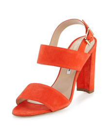 Kahn Suede Double-Band Sandal, Red/Orange