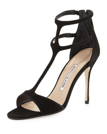 Cellin Strappy Suede Sandal, Black