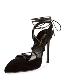 Paris Suede Lace-Up 105mm Pump, Black