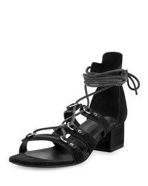 Babies Suede Gladiator 40mm Sandal, Black
