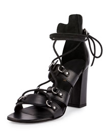 Babies Leather Gladiator 90mm Sandal, Black