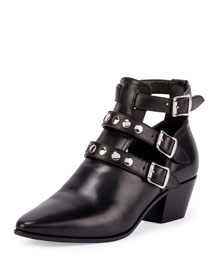 Three-Strap Leather Ankle Boot, Black (Nero)