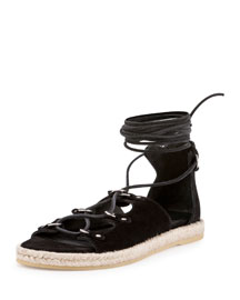 Suede Lace-Up Espadrille Flat, Black