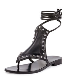 Studded Flat Ankle-Wrap Sandal, Black