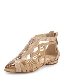 Aretha Caged Python Flat Sandal, Beige
