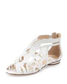 Aretha Caged Python Flat Sandal, White