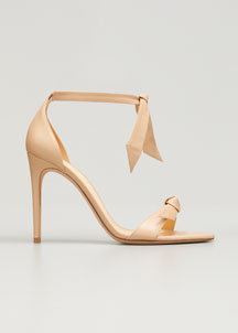 Clarita Leather Ankle-Tie 100mm Sandal, Tan