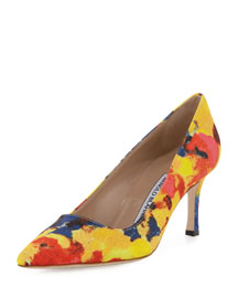 BB Floral-Print Fabric 70mm Pump, Multi Colors