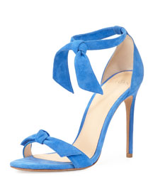 Clarita Suede Ankle-Tie 100mm Sandal, Blue