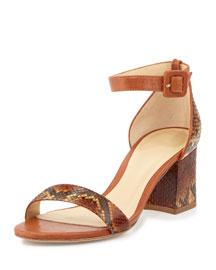 Judy Python Block-Heel d'Orsay Sandal, Tan
