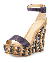 Halsey Woven-Wedge Platform Sandal, Navy