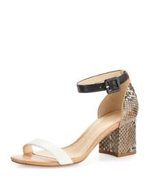 Judy Python/Calfskin Block-Heel d'Orsay Sandal, Black/White/Tan