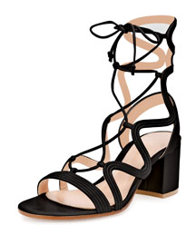 Loop-Caged Low-Heel Gladiator Sandal, Black