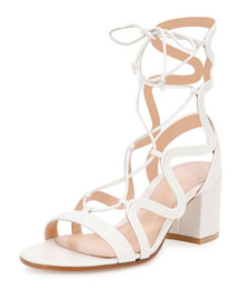 Metallic Loop-Caged Gladiator Sandal, Off White