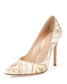 Geometric-Embroidered Napa Leather Pump, White/Gold