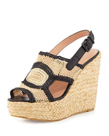 Drastic Woven Raffia Wedge Sandal, Natural/Black