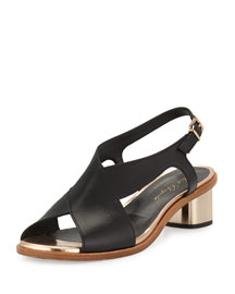 Zimola Leather Crisscross Sandal, Black